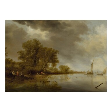 View 1. Thumbnail of Lot 6. River landscape with fishermen tending their nets along a bank.
