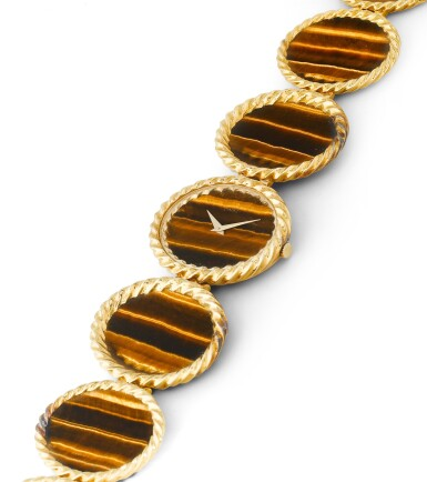 View 2. Thumbnail of Lot 117. Montre bracelet de dame oeil-de-tigre, ref. 9855 | Lady's tiger-eye bracelet watch, ref. 9855.