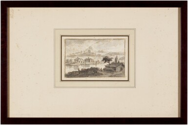 View 3. Thumbnail of Lot 53. Italianate landscape with houses by a river and hills behind.