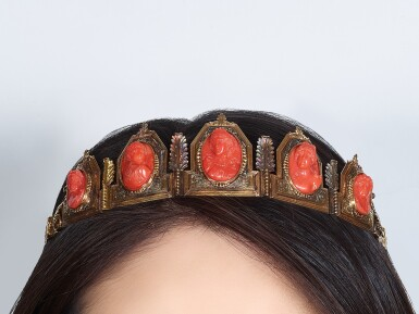 View 4. Thumbnail of Lot 9001. Yellow Gold and Coral Diadem, 1845 | 黃金 配 珊瑚 皇冠, 1845年.