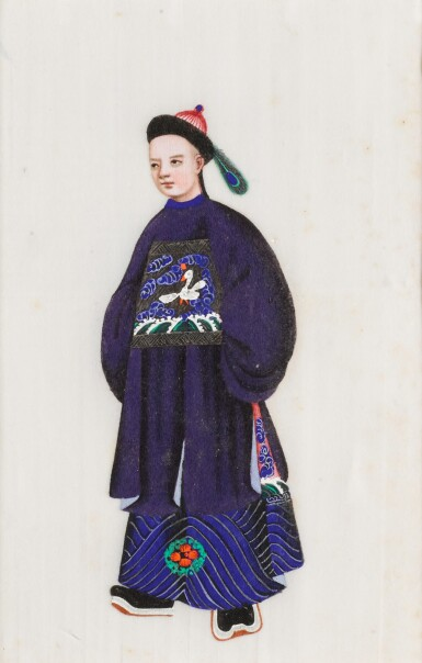 View 18. Thumbnail of Lot 163. A set of fourteen Chinese paintings on silk, Canton, 19th century.