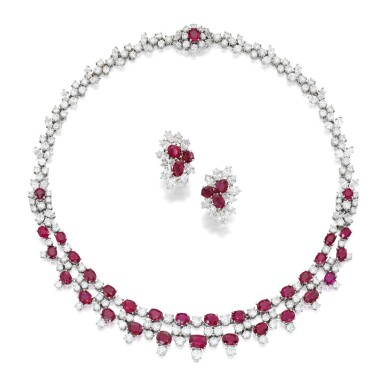View 1. Thumbnail of Lot 202. Harry Winston | Ruby and Diamond Necklace and Pair of Earclips.