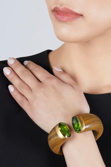 View 2. Thumbnail of Lot 209. Brass, Wood, Peridot, and Tourmaline Cuff-Bracelet.