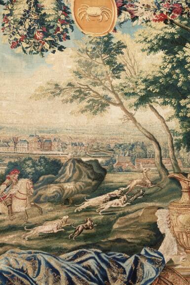 """View 2. Thumbnail of Lot 40. A GOBELINS ROYAL MANUFACTURE TAPESTRY FROM THE SERIES """"MAISONS ROYALES"""" DEPECTING THE FONTAINEBLEAU CASTLE, LOUIS XV, EARLY 18TH CENTURY, AFTER A DESIGN OF CHARLES LE BRUN   TAPISSERIE ALLÉGORIQUE DE LA MANUFACTURE DES GOBELINS TIRÉE DE LA TENTURE DES MAISONS ROYALES REPRÉSENTANT LE CHÂTEAU DE FONTAINEBLEAU D'ÉPOQUE LOUIS XIV, DÉBUT DU XVIIIÈME SIÈCLE, D'APRÈS UN CARTON DE CHARLES LE BRUN."""