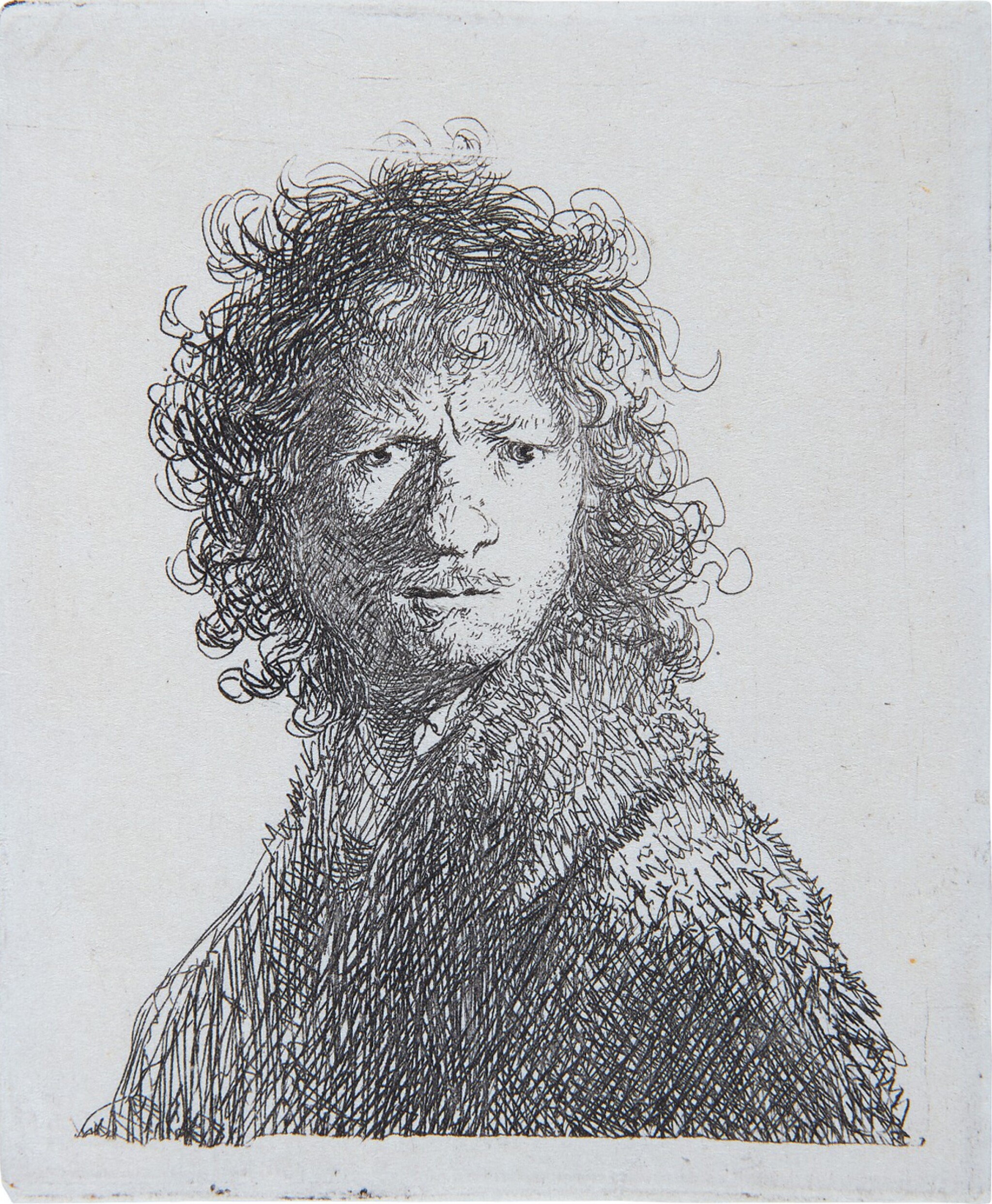 View full screen - View 1 of Lot 39. REMBRANDT HARMENSZ. VAN RIJN   SELF-PORTRAIT, FROWNING: BUST (B., HOLL. 10; NEW HOLL. 68; H. 30).