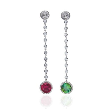 PAIR OF TOURMALINE AND DIAMOND EARRINGS, MICHELE DELLA VALLE