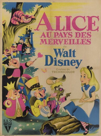 View 1. Thumbnail of Lot 2. ALICE IN WONDERLAND/ALICE AU PAYS DES MERVEILLES (1951) POSTER, FRENCH.