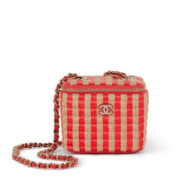 View 1. Thumbnail of Lot 70. Red and Beige Raffia and Jute Thread Mini Vanity Gold Hardware, 2021.