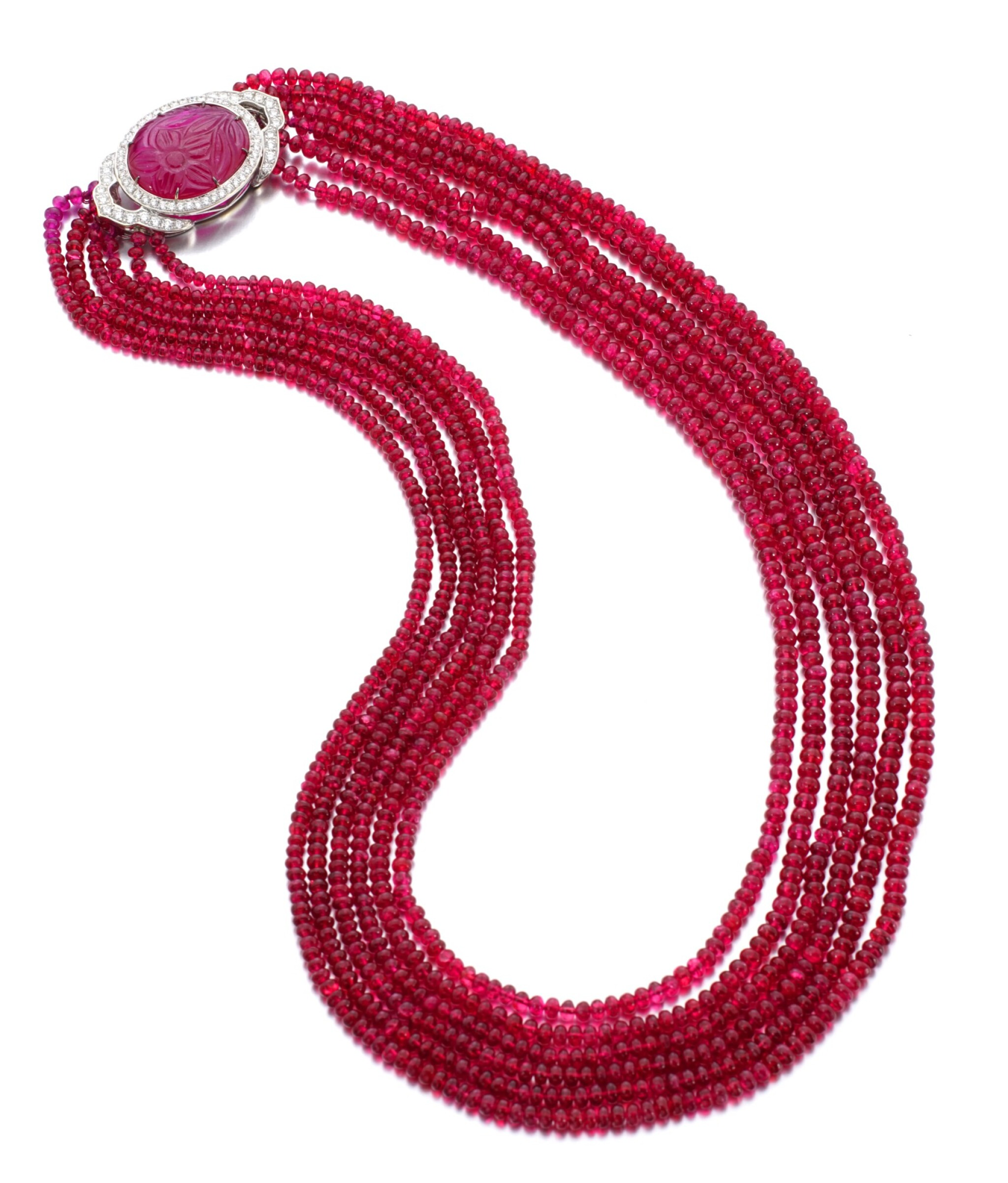 View full screen - View 1 of Lot 28. MICHELE DELLA VALLE | SPINEL, RUBY AND DIAMOND NECKLACE.