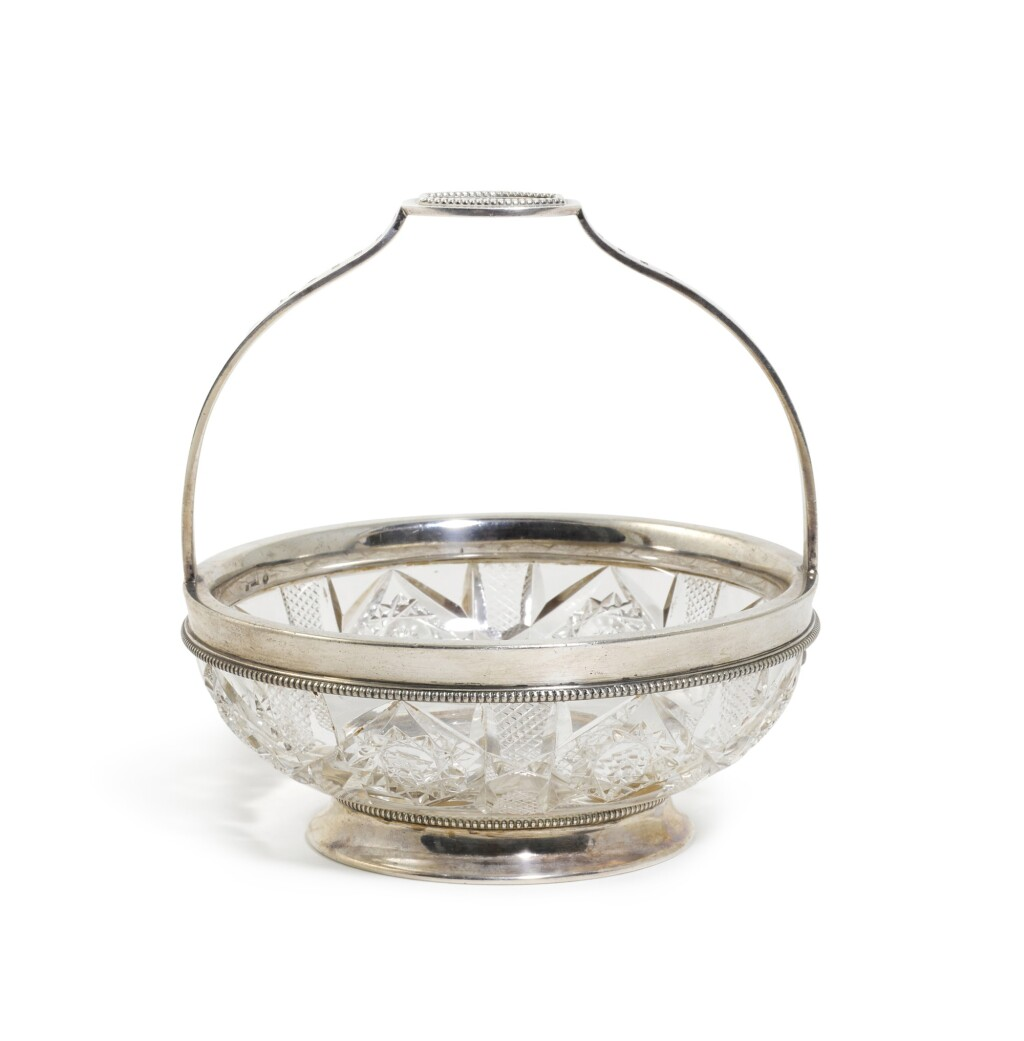 A FABERGÉ SILVER-MOUNTED CUT-GLASS BOWL, MOSCOW, 1914