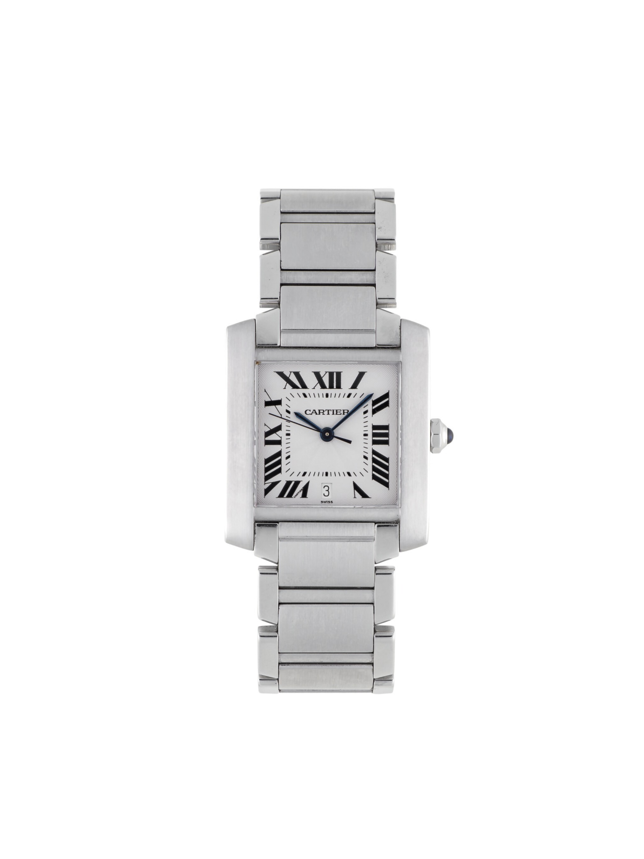 View full screen - View 1 of Lot 18. CARTIER | TANK FRANCAISE, REF 2302 STAINLESS STEEL WRISTWATCH WITH DATE AND BRACELET CIRCA 2001.