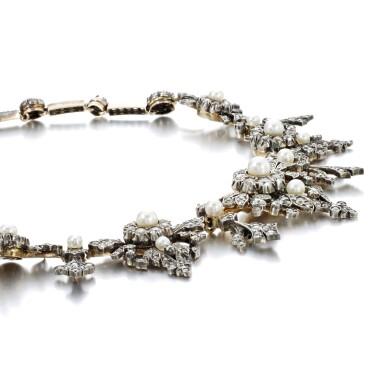 View 2. Thumbnail of Lot 1238. Diamond necklace/tiara, circa 1880.