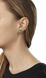 PAIR OF GOLD AND EMERALD EARCLIPS, BUCCELLATI