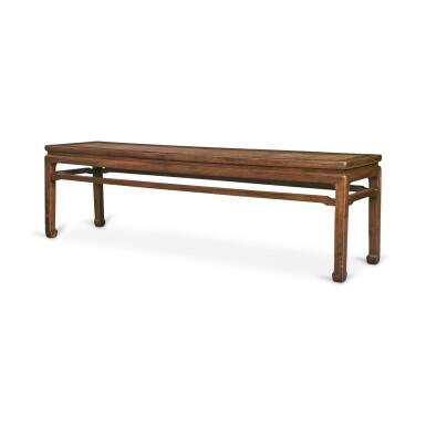 View 3. Thumbnail of Lot 116. A 'huanghuali' corner-leg long bench (Errendeng), Qing dynasty, 18th century   清十八世紀 黃花梨有束腰羅鍋棖馬蹄足貳人凳.