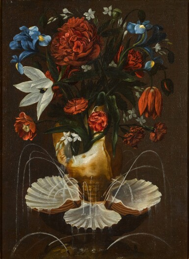 View 1. Thumbnail of Lot 13. ANTONIO PONCE     STILL LIFE WITH PEONIES, CARNATIONS, BLUE IRISES AND OTHER FLOWERS IN A SHELL FOUNTAIN.