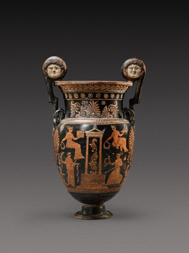 View 2. Thumbnail of Lot 18. An Apulian Red-figured Volute Krater, attributed to the Gioia del Colle Painter, circa 350-330 B.C..