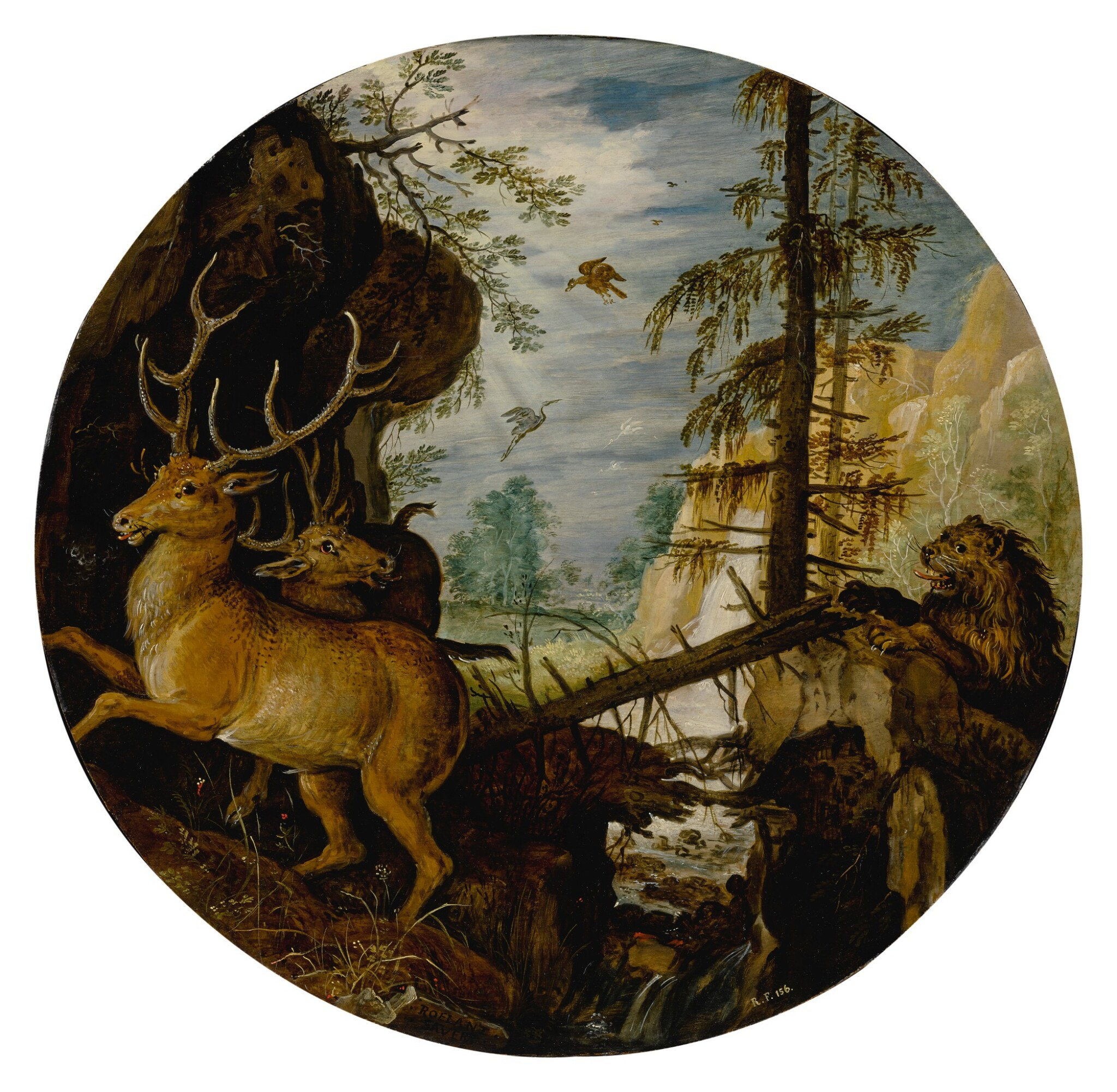 View full screen - View 1 of Lot 520. A lion hunting two deer.