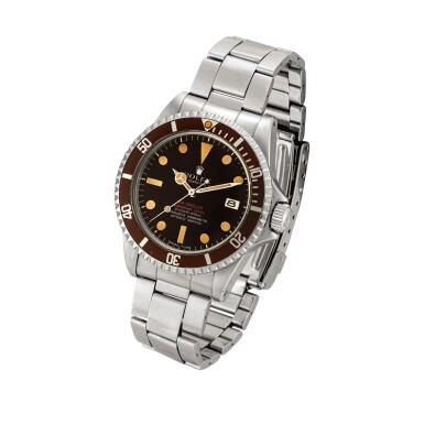View 2. Thumbnail of Lot 2270. Rolex | 'Double Red' Sea-Dweller, Reference 1665, A stainless steel wristwatch with tropical dial, date and bracelet, Circa 1972 | 勞力士 | 'Double Red' Sea-Dweller 型號1665  精鋼鏈帶腕錶,備日期顯示及棕式錶盤,約1972年製.