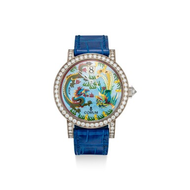 View 1. Thumbnail of Lot 859. CORUM | REFERENCE 254.102.69 A LIMITED EDITION WHITE GOLD AND DIAMOND-SET JUMPING HOUR WRISTWATCH WITH MOTHER-OF-PEARL AND ENAMEL DIAL, CIRCA 2005.