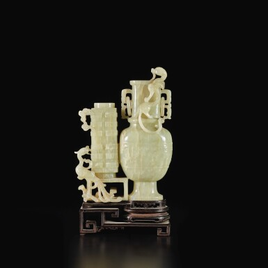 View 2. Thumbnail of Lot 649. A CELADON JADE 'CHILONG AND PHOENIX' DOUBLE VASE GROUP, QING DYNASTY, 18TH / EARLY 19TH CENTURY.