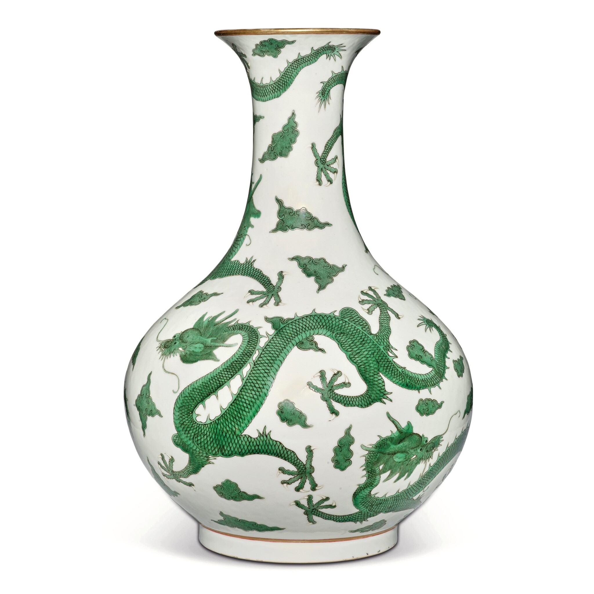 View full screen - View 1 of Lot 163. A very rare green-enameled 'dragon' bottle vase, Daoguang seal mark and period   清道光 綠彩五龍戲珠紋長頸瓶  《大清道光年製》款.