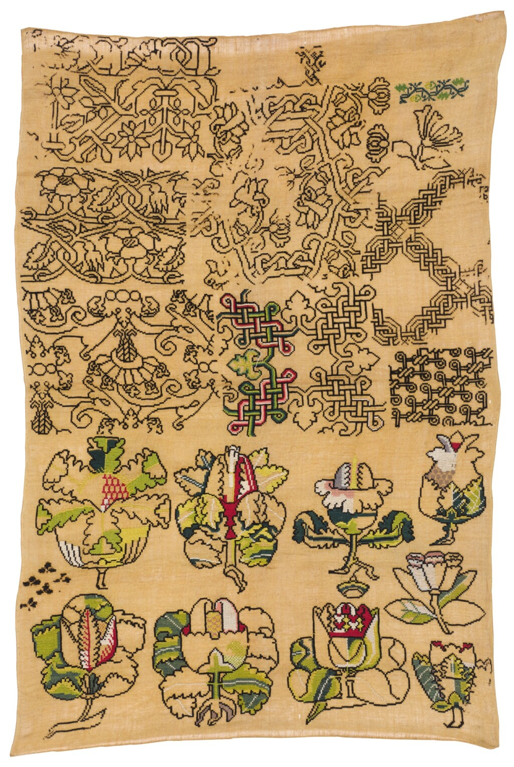 A NEEDLEWORK 'SPOT MOTIF' SAMPLER, ENGLISH, 17TH CENTURY