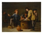 FOLLOWER OF DAVID TENIERS THE YOUNGER | INTERIOR WITH SMOKERS AROUND A TABLE