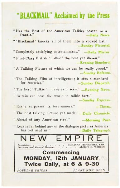 BLACKMAIL (1929) HERALD, US