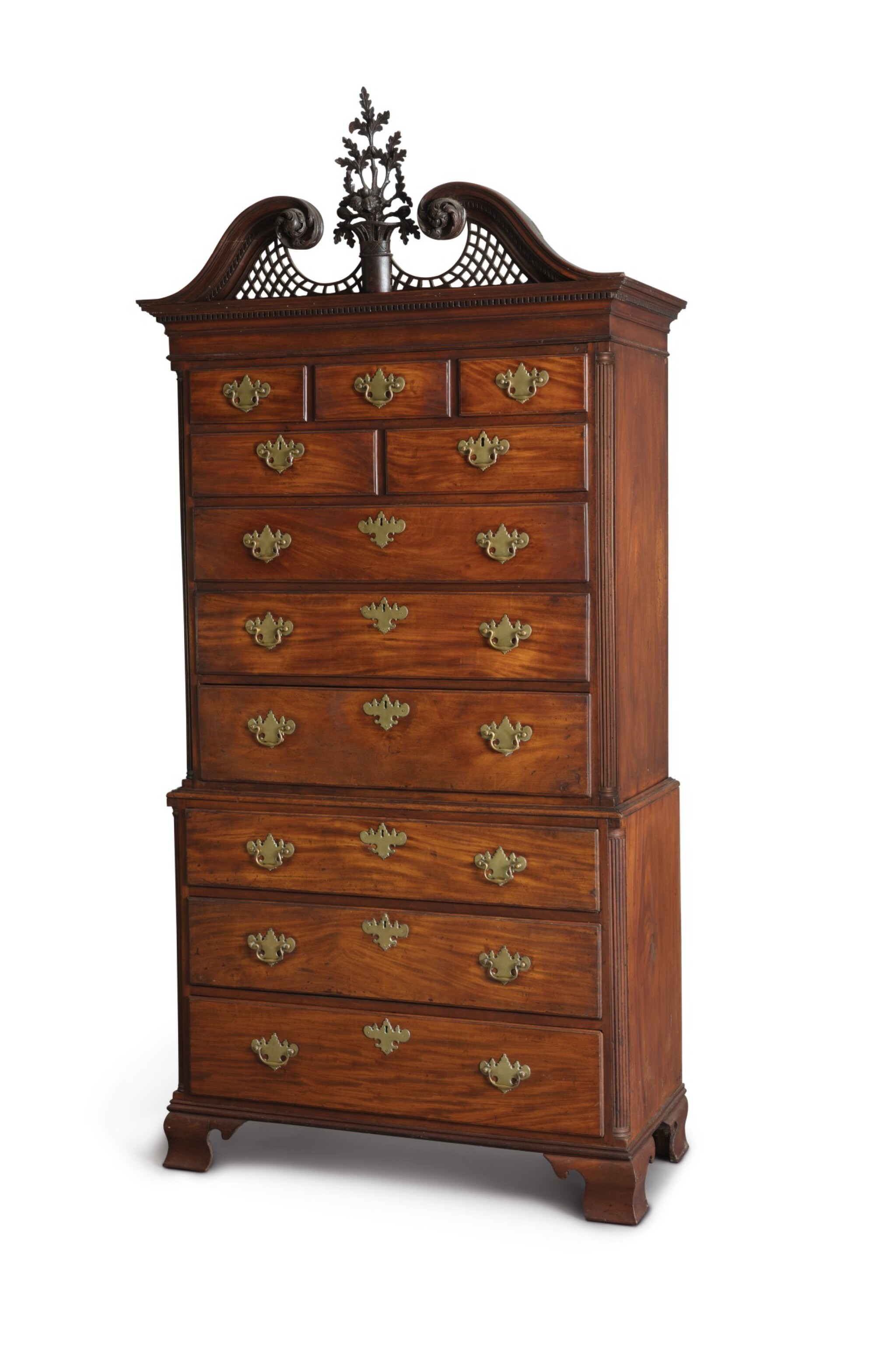 View 1 of Lot 34. The Important Stratton-Carpenter-Wheeler Family Chippendale Carved and Figured Mahogany Chest-on-Chest, cabinetwork attributed to John Folwell (w. 1762-1780); carving attributed to James Reynolds (w. 1766-1794), Philadelphia, Pennsylvania, circa 1770.