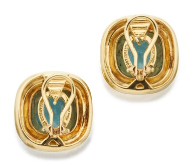 View 3. Thumbnail of Lot 23. PAIR OF GOLD AND AQUAMARINE EARCLIPS, PALOMA PICASSO FOR TIFFANY & CO..