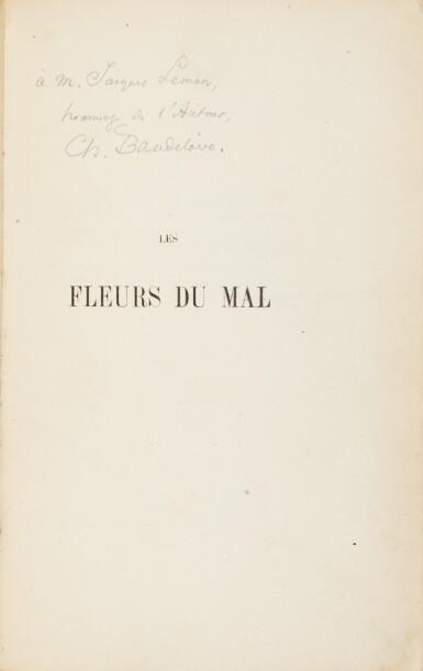 View 1. Thumbnail of Lot 67. Les fleurs du mal. 1857. Envoi à J. Leman. Un des 15 ex. connus relié à l'ép. avec envoi. Corrections aut..