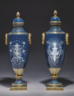 A PAIR OF MINTONS PÂTE-SUR-PÂTE PEACOCK-BLUE-GROUND VASES AND COVERS, 'BELL DU JOUR ET BELLE DU NUIT' CIRCA 1894