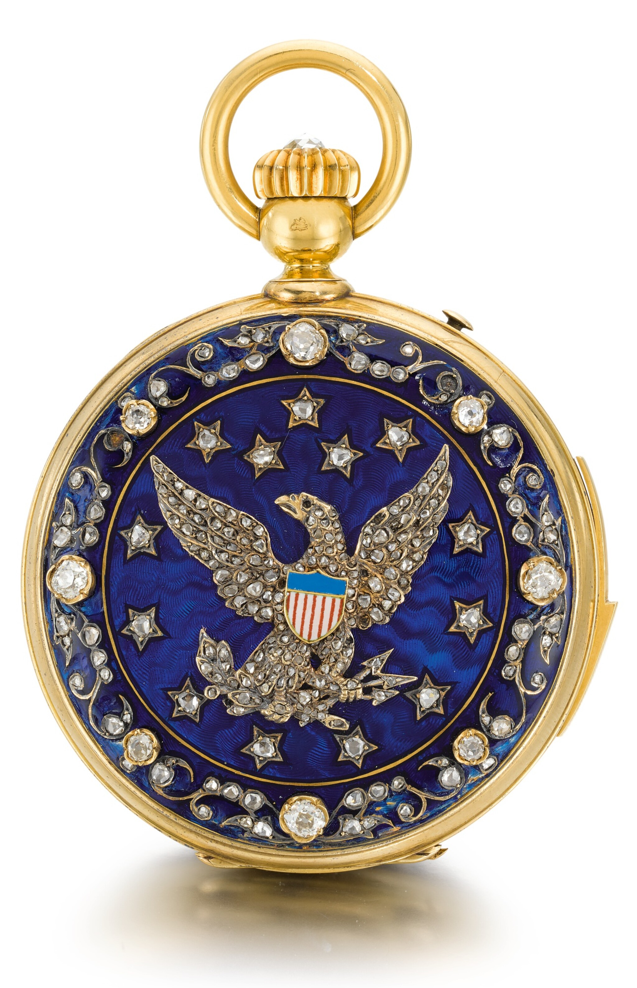 View full screen - View 1 of Lot 26. SWISS  [ 瑞士製]    A GOLD AND ENAMEL HUNTING CASED MINUTE REPEATING KEYLESS LEVER WATCH WITH AMERICAN EAGLE AND CRESCENT STAR MOTIFS  CIRCA 1865, NO. 17738  [ 黃金畫琺瑯三問懷錶飾美國鷹及星月主題圖案,年份約1865,編號17738].