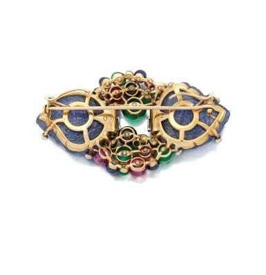 View 4. Thumbnail of Lot 22. Sapphire, emerald, ruby and diamond Tutti Frutti brooch/pendant (Spilla/pendente con zaffiri, smeraldi, rubini e diamanti, Tutti Frutti).