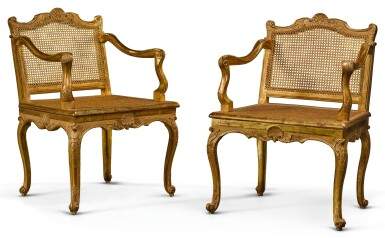 View 2. Thumbnail of Lot 4. A PAIR OF LOUIS XV CANED CARVED GILTWOOD MUSIC CHAIRS CIRCA 1750.