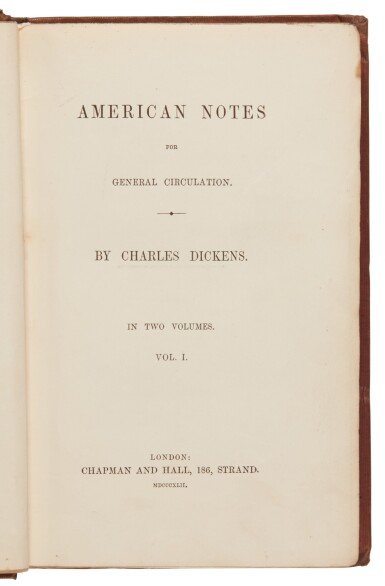 Dickens, American Notes for General Circulation, 1842, first edition