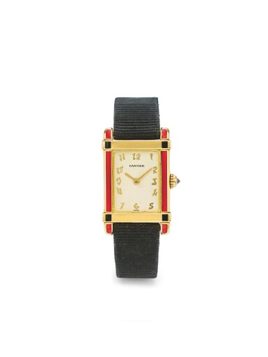 CARTIER | TANK CHINOISE, A YELLOW GOLD AND ENAMEL RECTANGULAR WRISTWATCH CIRCA 1995