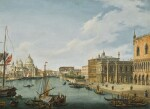 VINCENZO CHILONE   Venice, a view of the entrance to the Grand Canal, with the Palazzo Ducale and Santa Maria della Salute