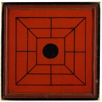 RED AND BLACK PAINTED WOODEN DOUBLE-SIDED TWELVE MEN'S MORRIS GAMEBOARD, NEW ENGLAND, 1850-70