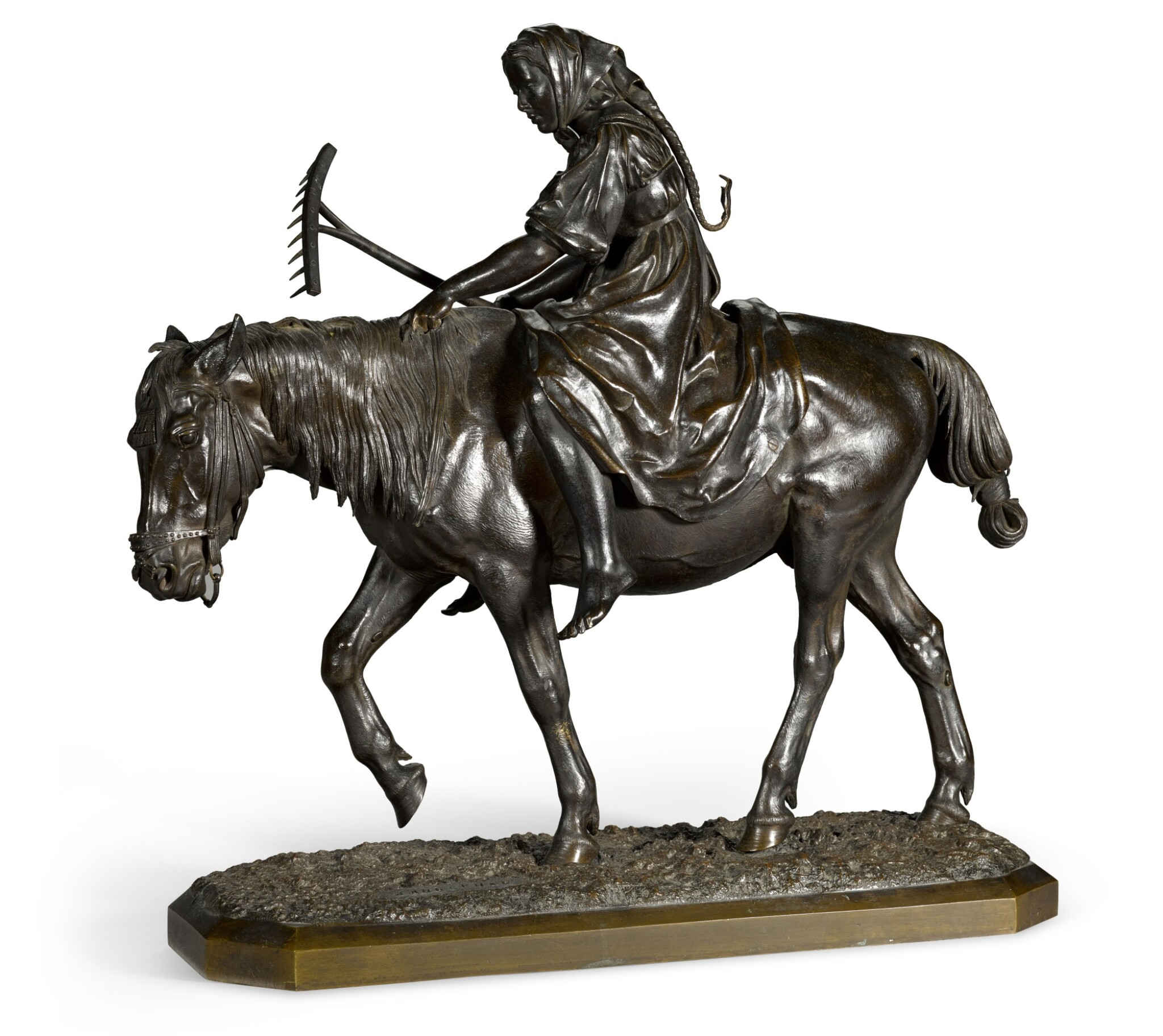 View full screen - View 1 of Lot 296. Peasant Girl with a Rake on Horseback: a bronze figure, after the model by Nikolai Lieberich (1828-1883).