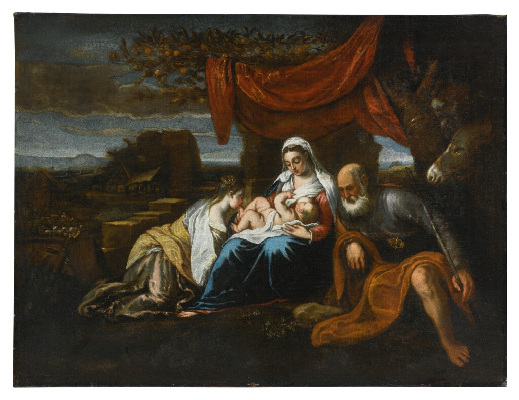 ATTRIBUTED TO JACOPO DA PONTE, CALLED JACOPO BASSANO   HOLY FAMILY WITH SAINT CATHERINE OF ALEXANDRIA