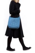 Blue leather, canvas and palladium hardware, Evelyne PM 29 Hermès, Hermès, 2012