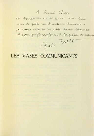 """View 1. Thumbnail of Lot 221. Les Vases communicants. 1932. Envoi de Breton à Char. """"Tirage à part pour les amis"""" sur papier jaune."""