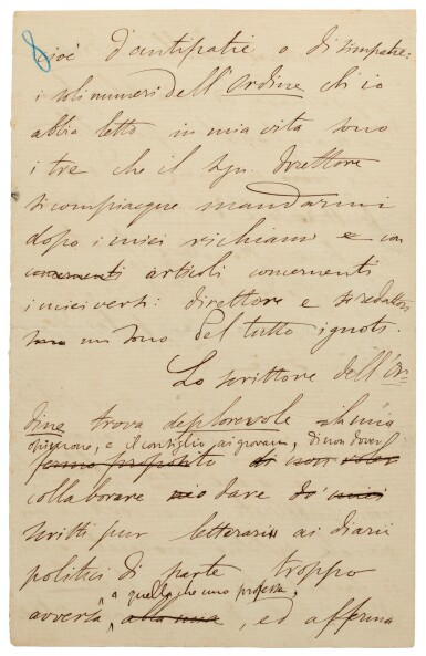 "G. Carducci. Autograph manuscript of his essay on copyright, ""Per l'ordine e contro l'Ordine"", 1881"