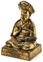 RARE STATUETTE DE ROLPAI DORJE, LE TROISIÈME CHANGKYA KHUTUKHTU (1717-1786), EN BRONZE DORÉ DYNASTIE QING, XVIIIE SIÈCLE    清十八世紀 鎏金銅三世章嘉呼圖克圖若必多吉坐像   A rare gilt bronze figure of Rolpai Dorje, the 3rd Changkya Khutukhtu (1717-1786), Qing Dynasty, 18th century