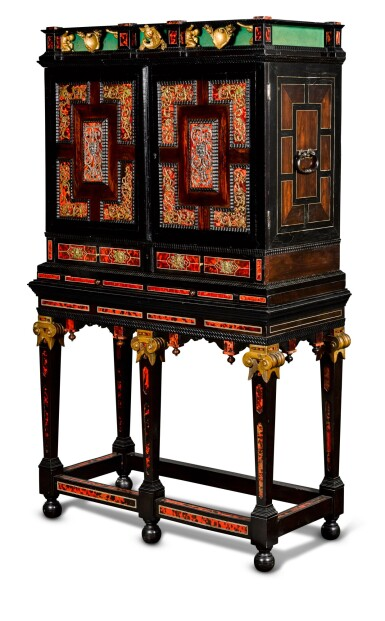 View 3. Thumbnail of Lot 43. A Flemish Baroque silver and gilt-metal mounted ebony, rosewood, tortoiseshell, ivory, inlaid and carved giltwood cabinet-on-stand, probably Antwerp, late 17th century.