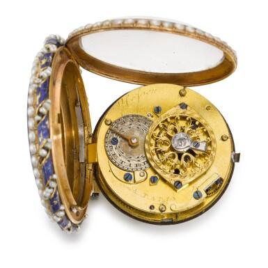 HEFSEN À PARIS [Hefsen,巴黎]   A GOLD AND ENAMEL PEARL-SET POCKET WATCH CIRCA 1790 [黃金畫琺瑯鑲珍珠懷錶,年份約1790]