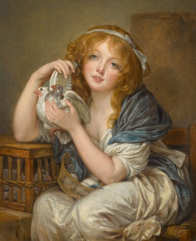 View 1. Thumbnail of Lot 189. 'Une fillette avec pigeons', after Jean-Baptiste Greuze.