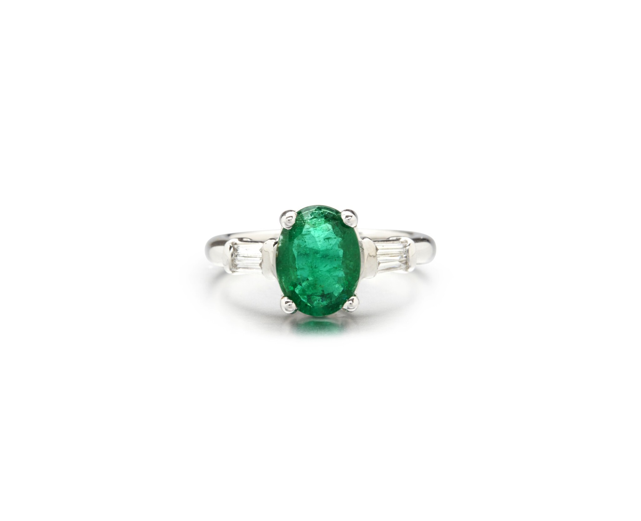 View full screen - View 1 of Lot 72. EMERALD AND DIAMOND RING.
