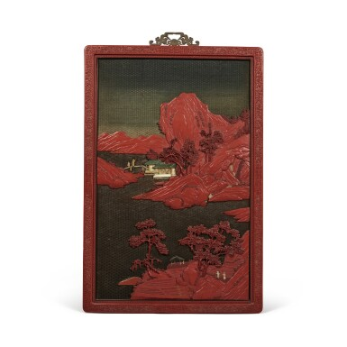 View 3. Thumbnail of Lot 232. A pair of large embellished carved wood polychrome lacquer panels, Qing dynasty, 18th / 19th century   清十八 / 十九世紀 木雕罩漆鑲玉石山水人物圖大掛屏一對.